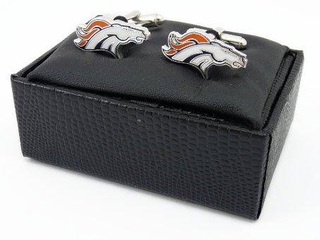 NFL Denver Broncos Cut Out Logo Cuff Link, Silver