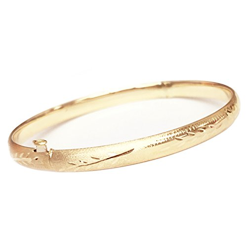 10k Real Yellow Gold Engraved Bangle Bracelet 7 - Gold 10k Bangle