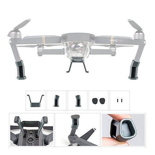UZOPI-DJI-Mavic-Pro-Landing-Gear-Height-Extender-Kit-Riser-Set-Stabilizers-with-Protection-Pad-and-Safe-Landing-Holder-Mount-Gray