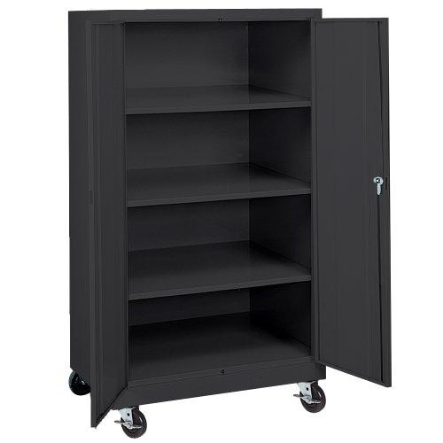 Sandusky Lee TA3R362460-09 Black Steel Transport Mobile Storage Cabinet, 3 Adjustable Shelves, 66