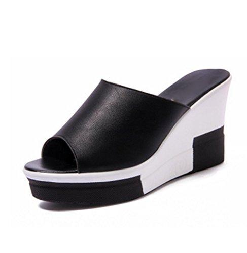 Pendiente y deslizadores frescos gruesos del talón de la parte inferior calzan los zapatos ocasionales de la playa del verano Black