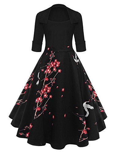 KCatsy Floral Pattern Vintage Swing Sleeve Flare Dress Black ()