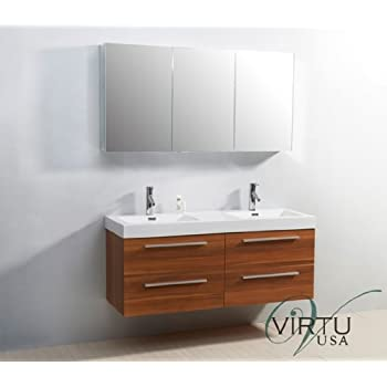 Virtu usa finley 54 inch double sink bathroom vanity set in plum w integrated square sink white for 54 inch double sink bathroom vanity