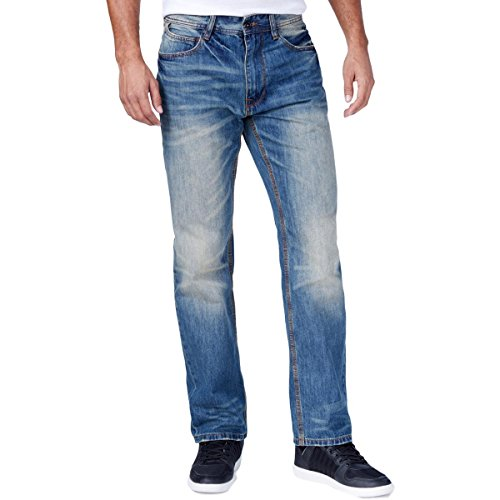 Sean John Mens Hamilton Relaxed Distressed Straight Leg Jeans Blue 30 (Sean John Jeans)