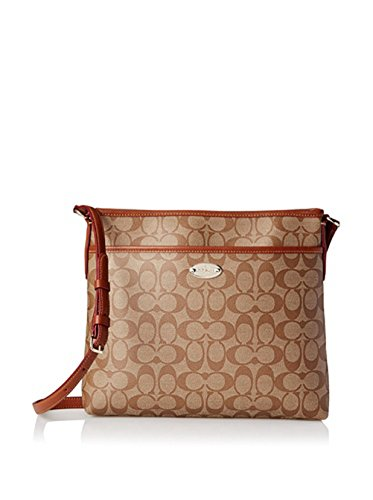 Coach Women's Signature File Messenger Cross-Body Bag, Khaki Saddle, One - Coach Outlet Online