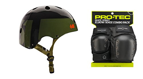 SixSixOne 661 Dirt Lid Skate BMX Helmet Army CPSC with PRO TEC Knee Elbow Pads ()