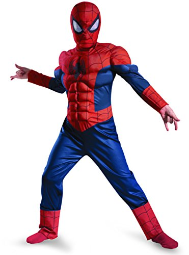 Disguise Boy's Marvel Ultimate Spider-Man Muscle Light Up Costume, 7-8