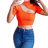 Crop Tops for Women Basic Short Sleeve Sexy Solid Color Slim Shirt Vest Blouse (M, Orange)