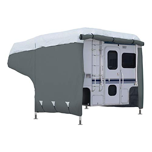 Classic Accessories OverDrive PolyPRO 3 Deluxe Camper Cover, Fits 10' - 12' Campers - Max Weather Protection with 3-Ply Poly Fabric Roof RV Cover - Truck Overdrive Maximum
