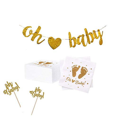 100 Baby Shower Napkins   Oh Baby Napkins with Pre-Strung Gold Oh Baby Banner and Bonus Oh Baby Cupcake Toppers   Gender Neutral Baby Shower Decorations and Sprinkle Party Supplies by Dessie -