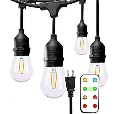 addlon 48ft LED Outdoor String Lights with 180W Remote Control Dimmer, 2W LED Bulbs Heavy Duty Waterproof Linkable Led String Light, UL Listed, Patio Party Wedding Gazebo Backyard Bedroom Decor