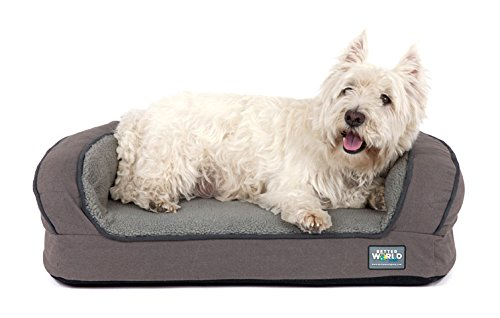 Better World Pets Super Comfort Bolster Dog Bed :: Waterproof Memory Foam Pet Bed with Durable Canvas Cover, Extra Plush Fleece + Foam Bolsters :: 4 Inch Thick, Washable, Small, Wolf Grey