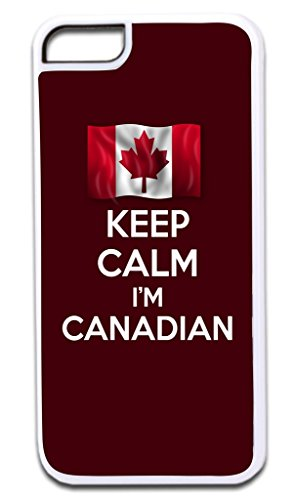 Keep Calm I'm Canadian TM Apple Iphone 4, 4s White Plastic Case with Soft Black Rubber Lining Made in the U.S.A.