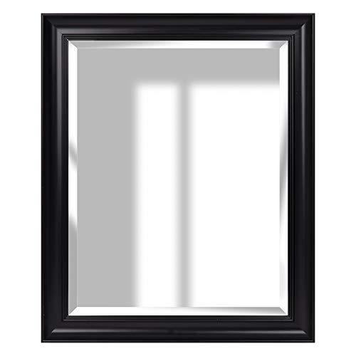 Everly Hart Collection 16x20 Blackwash Woodgrain Framed Beveled Accent Wall Mounted Mirrors Large Black