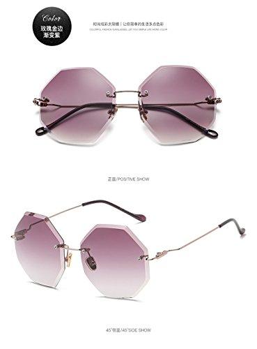 sol Gafas bastidor de rosa bastidor Gafas violeta del poligonal nuevo sol degradado gafas sol Nuevas cerco oro gafas sin gafas de marino de qztX5Apw