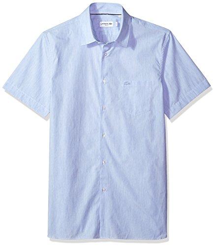 Lacoste Men's Short Sleeve Finely Striped-Poplin Slim Woven Shirt, CH4997, Hemisphere Blue/White, 16½ ()