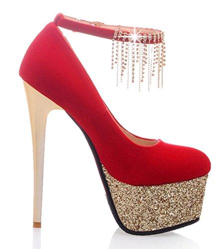 YE Damen Extrem High Heels Stiletto Pumps Platea mit Knöchelriemen und Schnalle Party Schuhe Rot