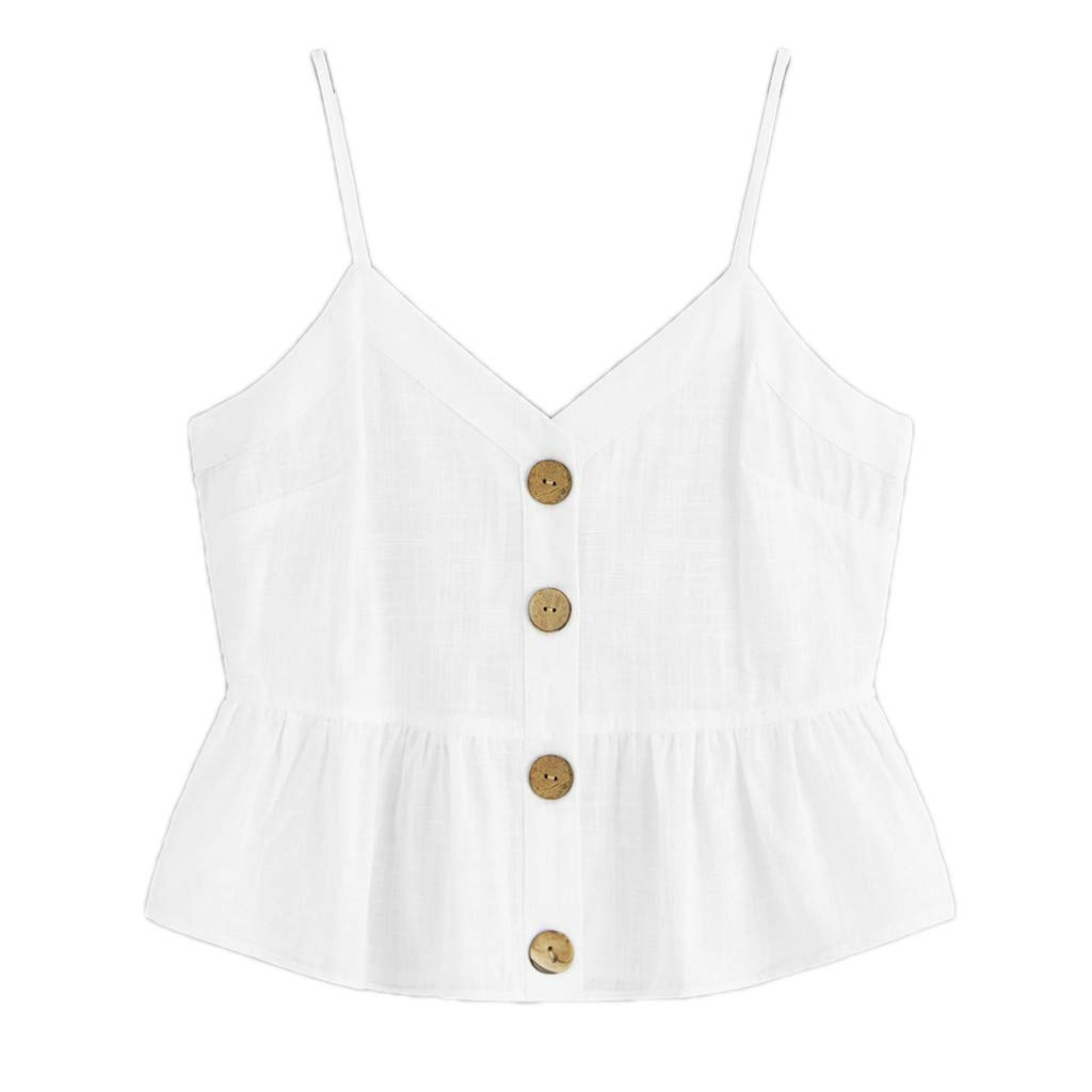 Sinfu Women V-Neck Pleated Hem Sleeveless Camisole Button-Embellished Tank Top Blouse (M, White)
