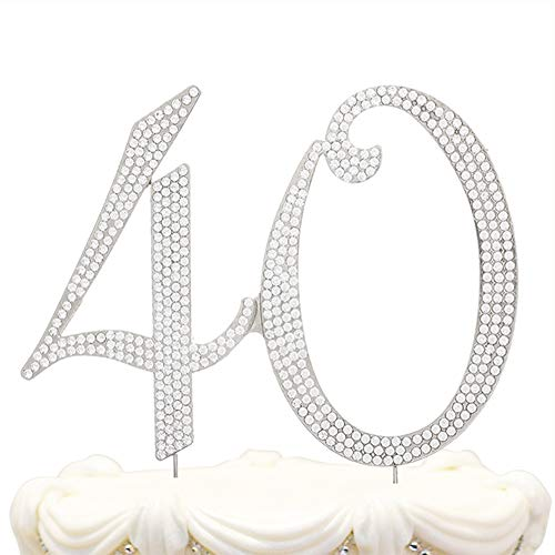 Hatcher lee 40 Cake Topper for 40 Years Birthday Or 40TH Wedding Anniversary Gold Crystal Rhinestone Party Decoration (Silver) -