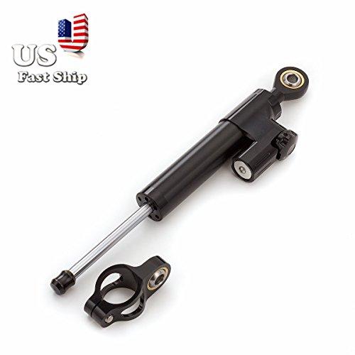 FXCNC Motorcycle Universal Steering Damper Stabilizer Linear For SUZUKI KAWASAKI HONDA BMW YAMAHA All Black 1 PCS US Ship