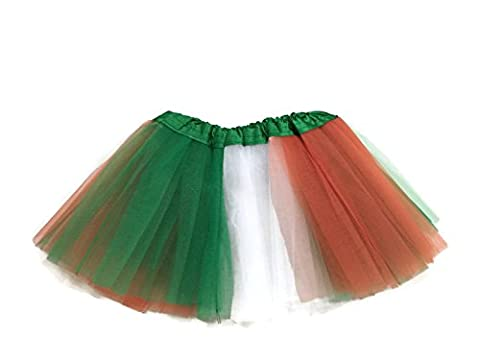 Rush Dance Colorful Ballerina Girls Dress-Up Princess Costume Recital Tutu (Infant, Kelly Green/Orange/White (St Patrick's Day))