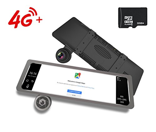 4G Car Dash Cam 10.0'' Touch GPS Navigation WIFI Bluetooth Dual Lens Rearview Mirror Camera Android 5.1 Vehicle Video Recorder with Night Vision, 170-degree Wide Angle Lens with G-Senor by sunray (Image #6)