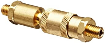 """Brass Double Shut-Off Quick Connector 10/32"""" Thread, .63"""" OD, 3.25""""L Coupler, 1.97""""L Plug with Buna-N Seal"""