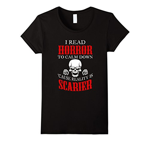 Women's Horror t shirts for Horror Book Lover. I read Horror Shirt. Large Black (Horror Tshirts)