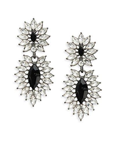 - Robert Rose Double Drop Earrings, Black/Clear