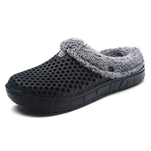 HMAIBO Unisex Fur Lined Clogs House Slippers Winter Breathable Indoor Outdoor Walking Garden Shoes Warm Non-Slip Mule Footwear Black 41