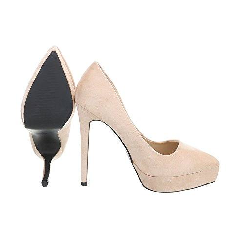 Ital-Design High Heel Pumps Damenschuhe High Heel Pumps Pfennig-/Stilettoabsatz High Heels Pumps Beige 5015-75