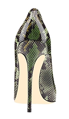 High col Pattern Donna Chiuse Python Ritaglio 1 tacco Davanti 12CM ELASHE Animale Scarpa Scarpe Verde da Heels Scarpe wO0xEvX