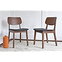 Edloe Finch Mid Century Modern Dining Chairs Set of 2 - Upholstered Fabric Seat - MidCentury Walnut Wood - Dark Grey