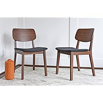 9dff77b2f95c EDLOE FINCH - Mid Century Modern Dining Chairs Set of 2 - Upholstered  Fabric Seat -
