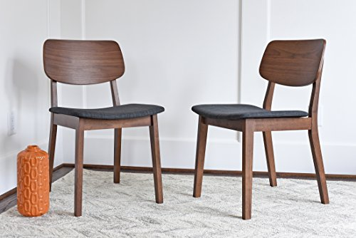 EDLOE FINCH - Mid Century Modern Dining Chairs Set of 2 - Upholstered Fabric Seat - MidCentury Walnut Wood - Dark Grey ()