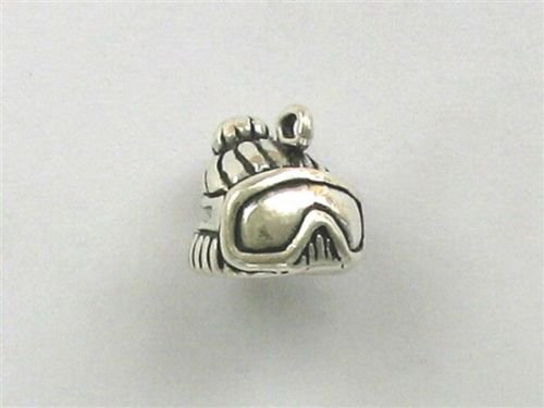 Sterling Silver 3-D Ski Mask Goggles Charm - Jewelry Accessories Key Chain Bracelet Necklace Pendants