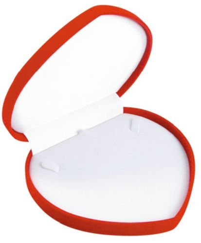 Red Velvet Necklace Pendent Box Jewelry Gift Organizer Case Heart Shape Valentine