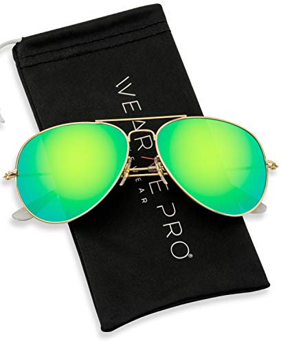 WearMe Pro - Polarized Metal Frame Pilot Style Aviator Sunglasses (Gold Frame/Mirror Green Lens, ()