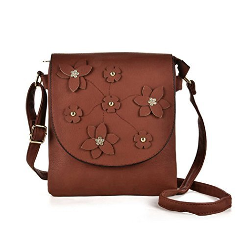 Crossbody Bags Detail Brown Faux Flower Leather Womens Ladies Shoulder O24 Messenger Fashion xzFSXWq
