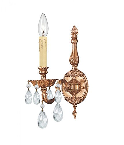 Light Novello 1 Sconce (Crystorama 2501-OB-CL-S Crystal Accents One Light Sconces from Novella collection in Brassfinish, 8.50 inches)