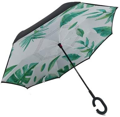 Creative C Hook Handle Reverse Folding Quality Brand Bright Pattern Double Layer Windproof Rainy Sunny Umbrella Car Men Women Inverted Umbrella