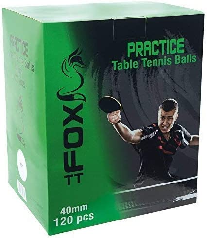 Fox Tt 40mm Ping Pong Practice Table Tennis Box Of 120 White Balls With Bag