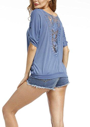 Camicetta Moda Blusa Forti Sciolto Donna Camicia T Schienale Manica Casuale Camicie Elegante Estivi Senza Blu Allacciato V Maglietta Hollow Taglie Corta shirt collo Top 87PqOwx8