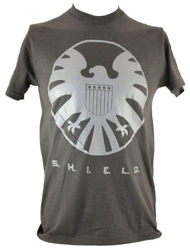 SHIELD S.H.I.E.LD. (Marvel Comics, Nick Fury, The Avengers) Mens T Shirt- Silver Giant Logo on Gray (Medium)