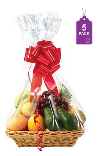 """Clear Basket Bags, Large Clear Cellophane Wrap for Baskets & Gifts 24""""x30"""" (5)"""