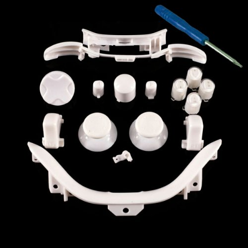 Xbox 360 White Full Parts Set (Thumbsticks, D-pad, Buttons, Triggers, Bumpers, Bottom Trim) for your controller (ABXY,Guide,Start, Back)