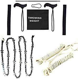 Jumao Building 48 Inch High Reach Tree Limb Hand Rope Chain Saw, Tree Cutting Rope Chain, Cutting Chain Saw, with Blades on Both Sides, Comes with Ropes, Pocket Chainsaw 40 Teeth Cutter on Both Sides