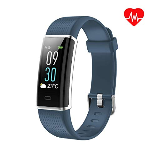 Qoopower Smart Watch Heart Rate Monitor,Low Power Consumption Fitness Tracker with Blood Pressure Measurement Sleep Monitor, Waterproof Smart Watch Calculation for Android iOS iPhone (Grey-Blue)