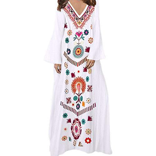 Maxi Smock (Womens Long Sleeve KIKOY Fashion Printed V-neck Maxi Dress Hem Baggy Long Dress)