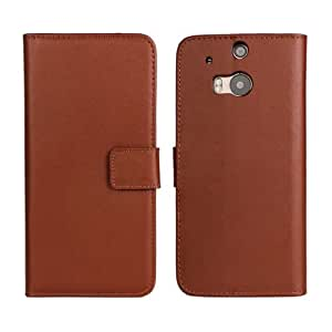 Brown Case for HTC One M8 New Fashion Flip PU Leather Stand Cover With Card Slots(Gift 2 PCS Sticker)